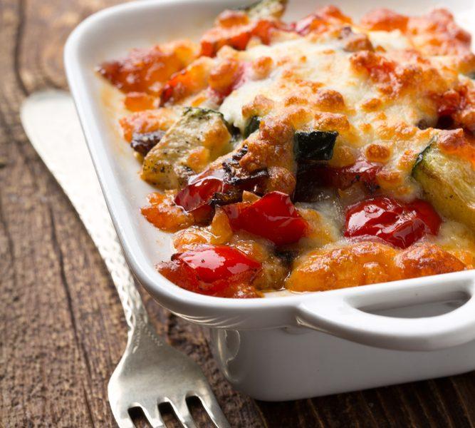 Zucchini and pepper gratin
