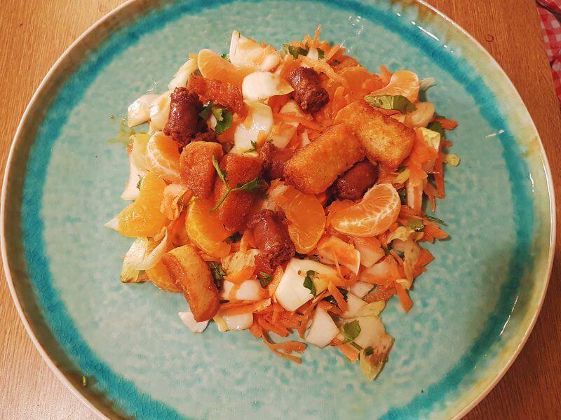 Salade aux merguez et clémentines