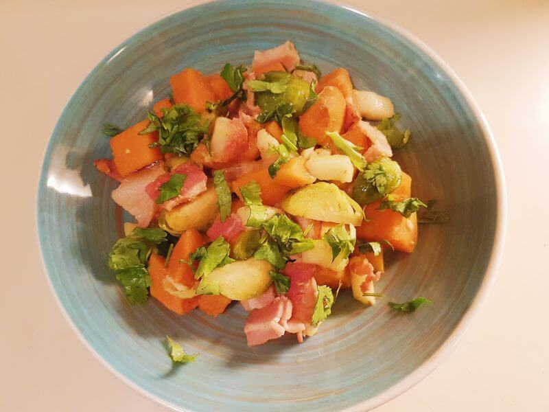 Pan fried vegetables with smoked bacon