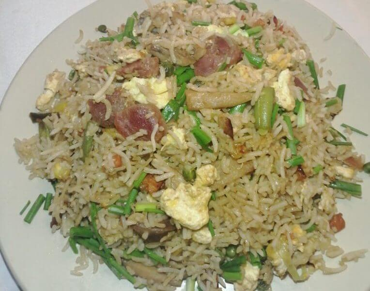 Chicken and Chinese sausages fried rice